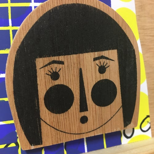 Image of Long Bob Lashes Badge - Hand Sceen Printed on Wood