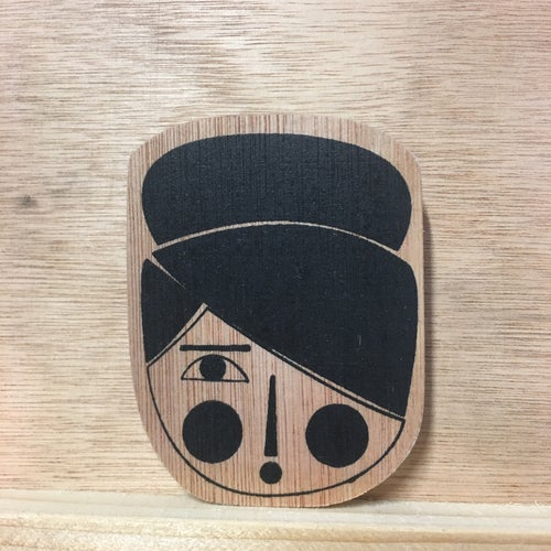 Image of Updo Lady - Hand screen printed wooden badge