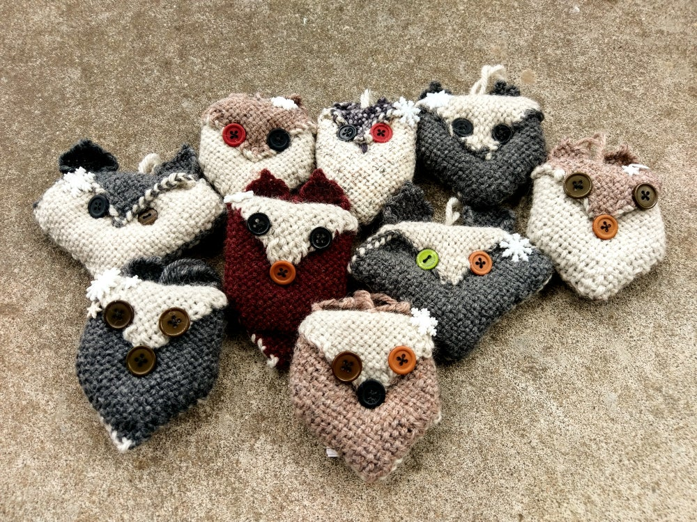 Image of Woodland Critters ornament, handmade, handwoven