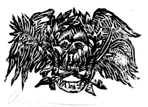 Image of Skull block print