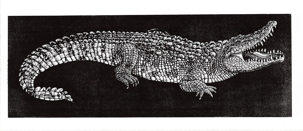 Image of Saltwater Crocodile Woodblock Print