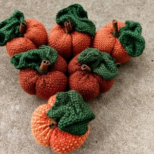 Image of Small pumpkin soft sculpture, handwoven, handmade