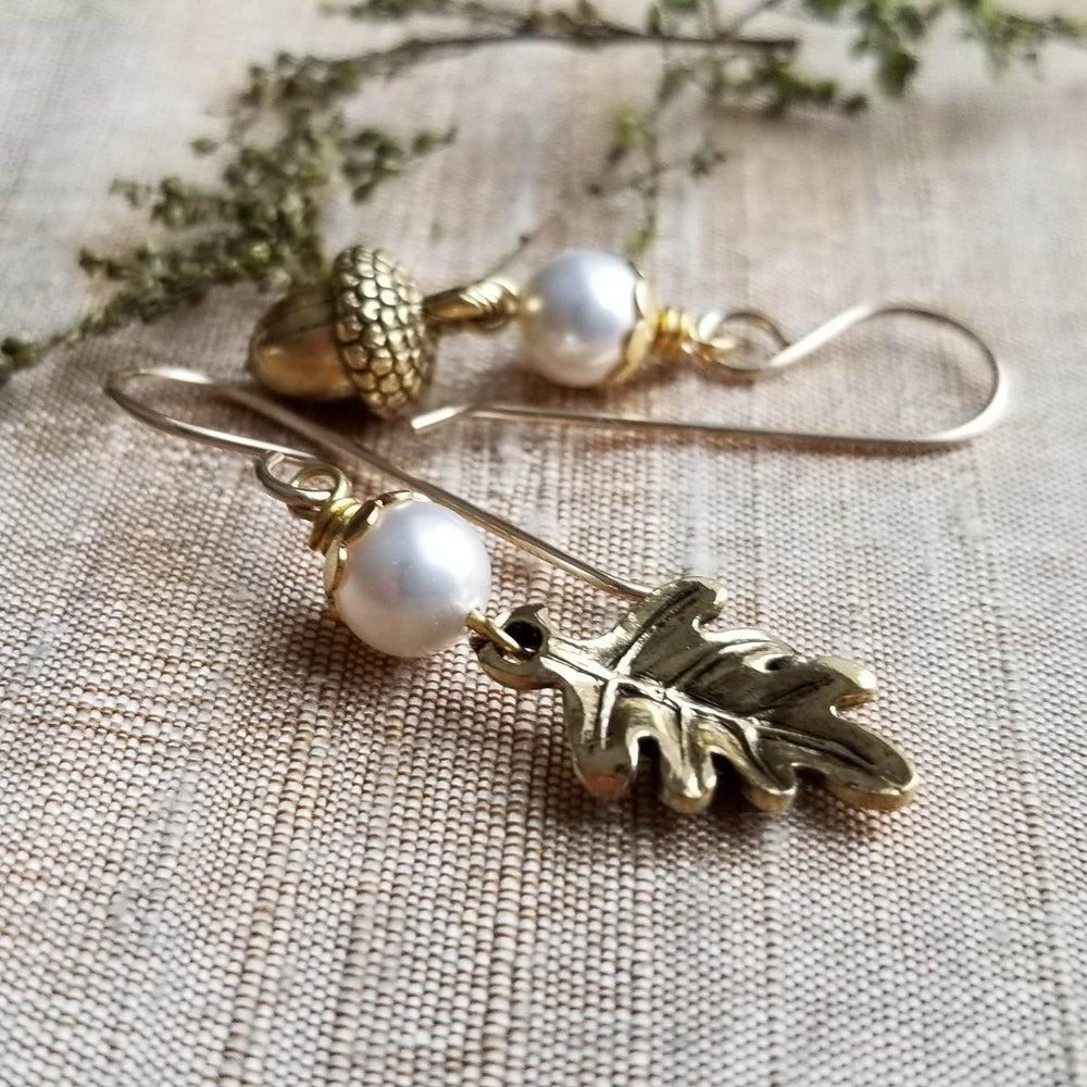 Image of Bountiful - Pearl Acorn and Oak Leaf Earrings (Gold)