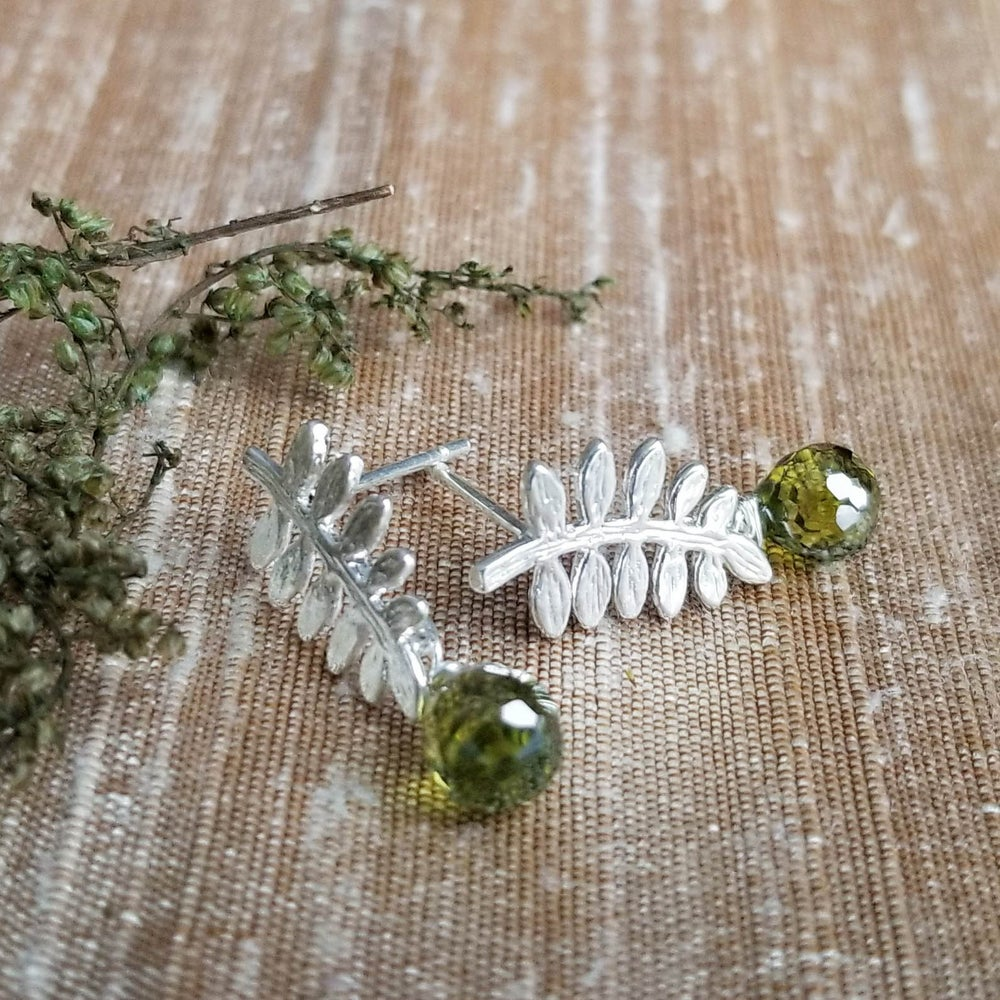 Image of Tiny Fern Frond Earrings - Silver