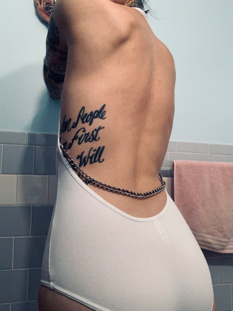 Image of Anonymous backless bodysuit w/ removable chain