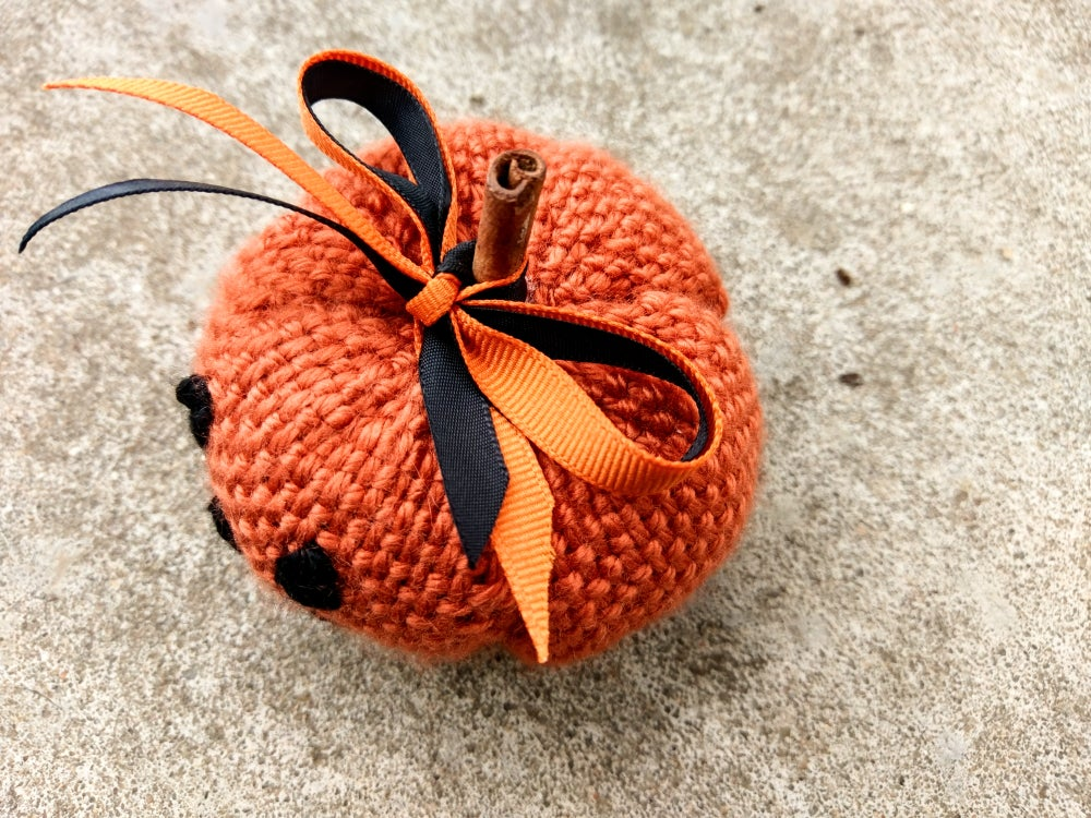 Image of Small Jack 'o' Lantern soft sculpture, handwoven, handmade