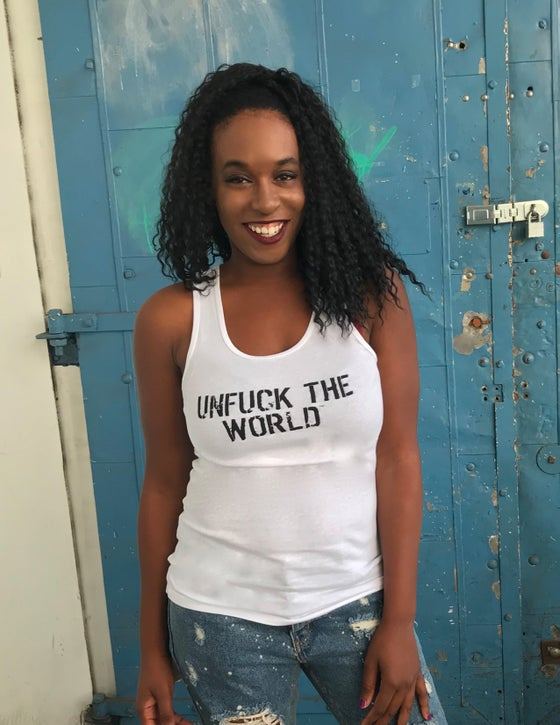 "Image of OFFICIAL ""UNFUCK THE WORLD"" WOMEN'S TANK WHITE"