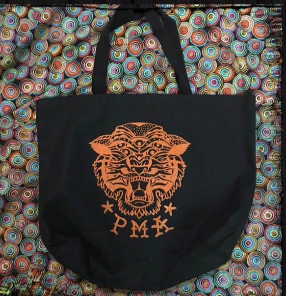 Image of Neo-Traditional Tiger PMA shopping tote, black