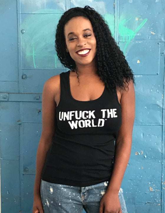 "Image of OFFICIAL ""UNFUCK THE WORLD"" WOMEN'S TANK BLACK"