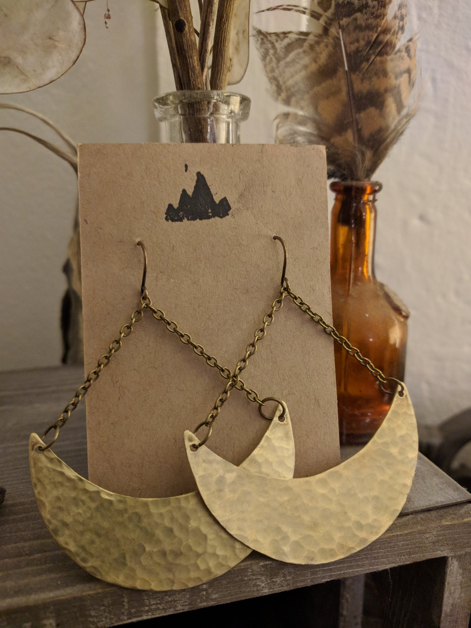 Image of hammered crescent earrings