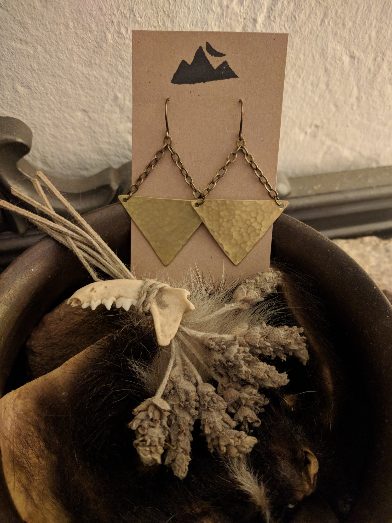 Image of hammered triangle earrings