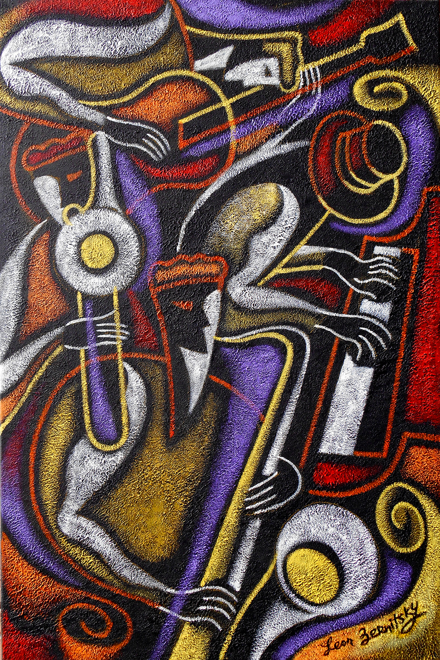 Image of Swing Jazz Decorative Contemporary Original Painting. Free Shipping to US and Canada