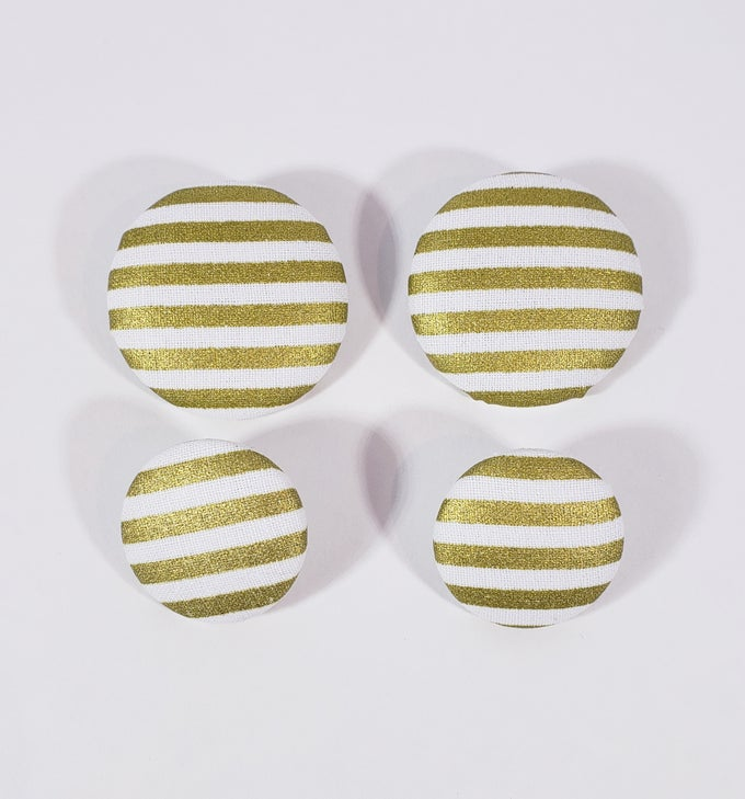 Image of Gold & White Stripe Button Earrings