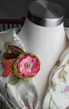 Pink Begonia Floral Brooch