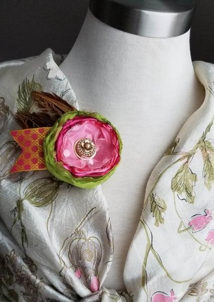 Image of Pink Begonia Floral Brooch