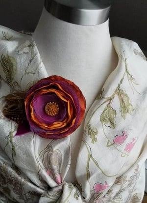 Image of Purple & Orange Poppy Floral Brooch