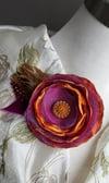 Purple & Orange Poppy Floral Brooch
