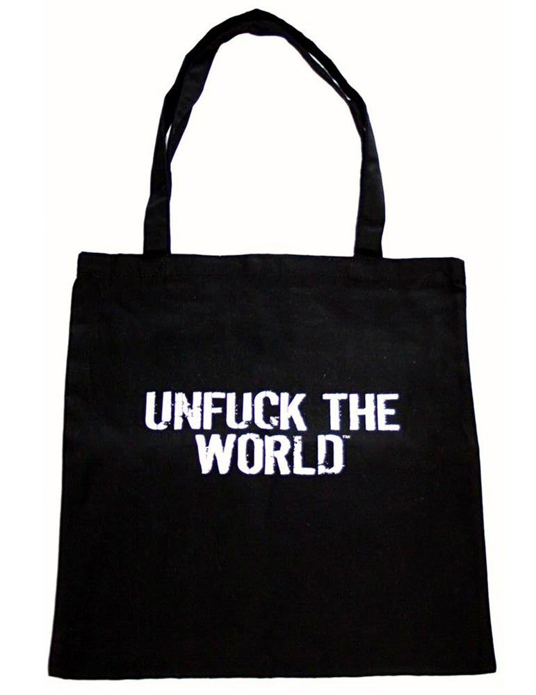 "Image of OFFICIAL  ""UNFUCK THE WORLD"" BLACK TOTE BAG"