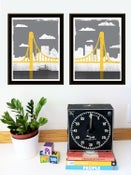 Image of Small Pittsburgh City of Bridges Offset Diptych Art Prints Set or Singles - New!