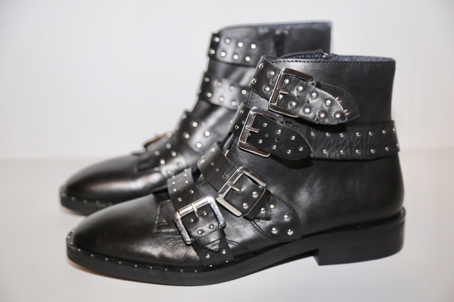 Image of TOP SHOP LEATHER STUDDED BOOTS