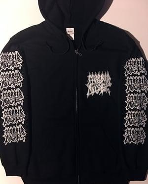 """Image of Morbid Angel """" Abomination """" Zip Up Hooded Sweatshirt with logo sleeve prints"""