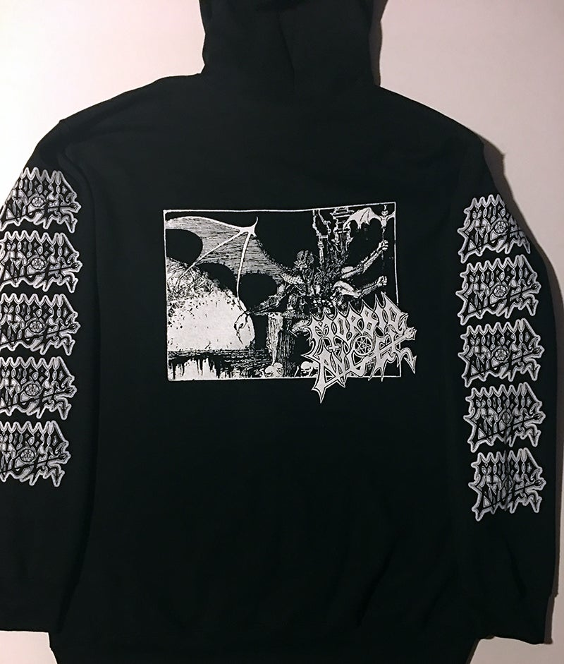 "Image of Morbid Angel "" Abomination "" Zip Up Hooded Sweatshirt with logo sleeve prints"