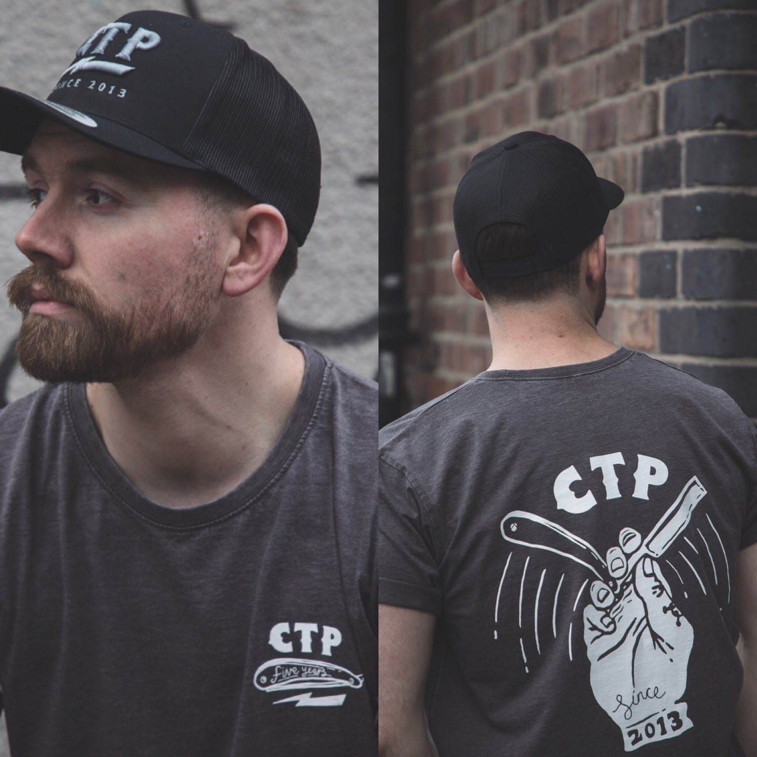 Image of Cutthroatpete 5 Year Anniversary Capsule Collection Tee Washed Charcoal