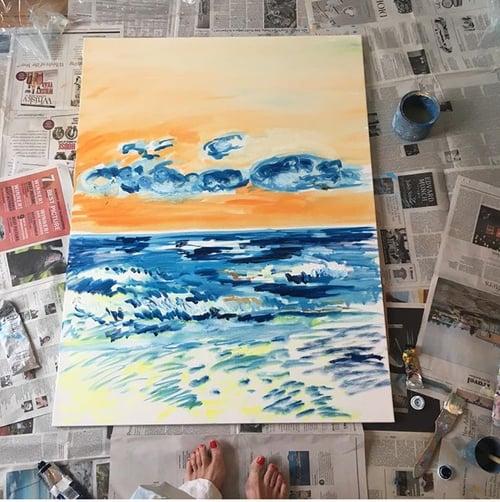 """Image of Montauk sunrise, 30"""" x 40"""" painting"""