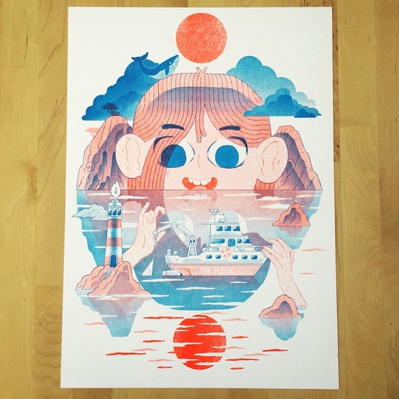 Image of Sea Girl Risograph poster