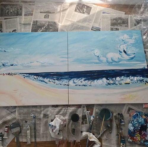"Image of Jones Beach, NY, 30""x30"" x 2 paintings"