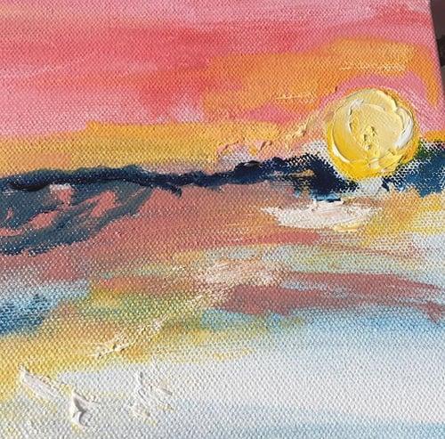 "Image of Montauk sunset II, 30"" x 30"" painting"