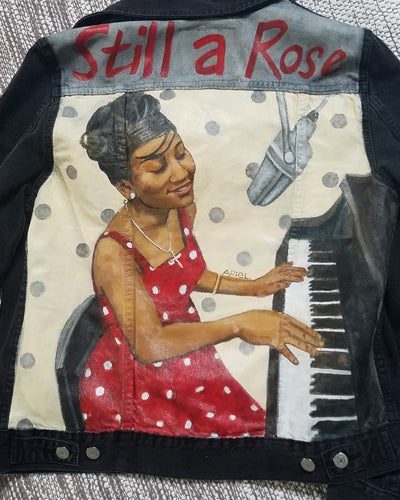 Image of Still a Rose: Aretha Franklin inspired Denim Jacket