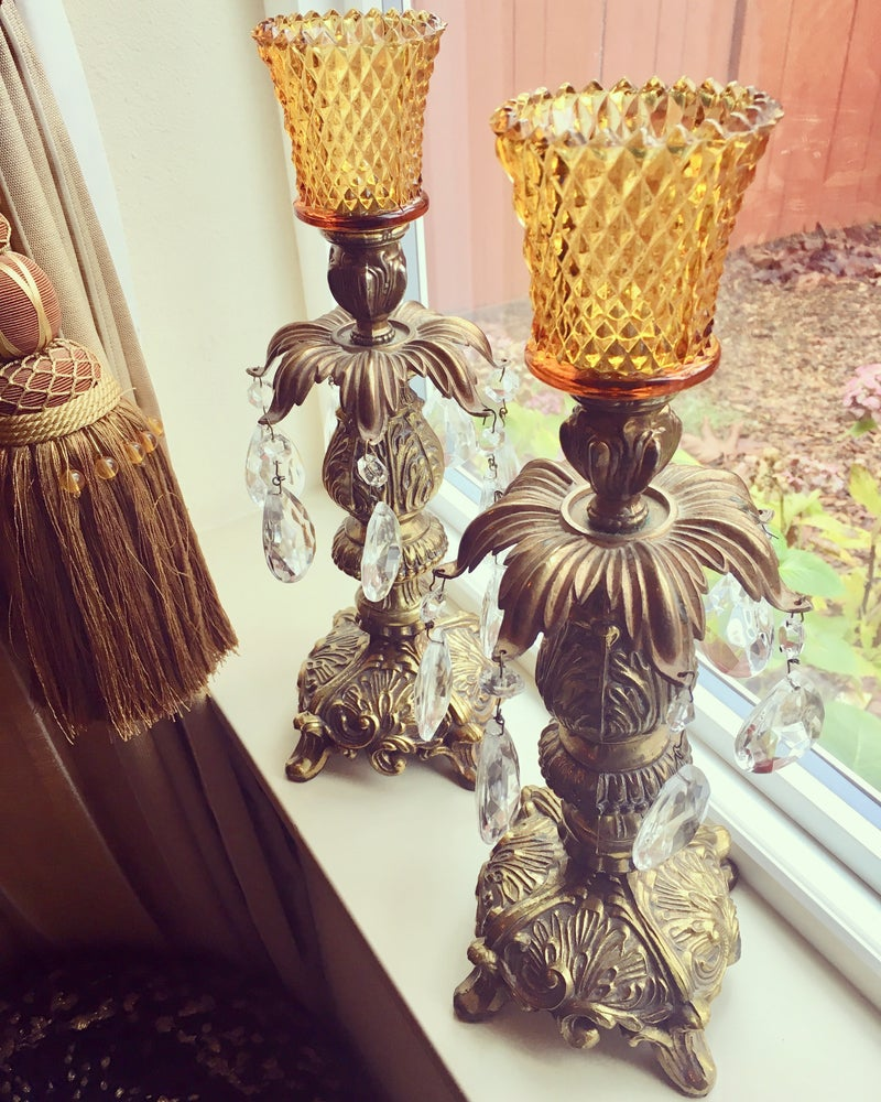Image of Pair of Vintage Brass and crystal Candlestands paired with diamond cut amber votives