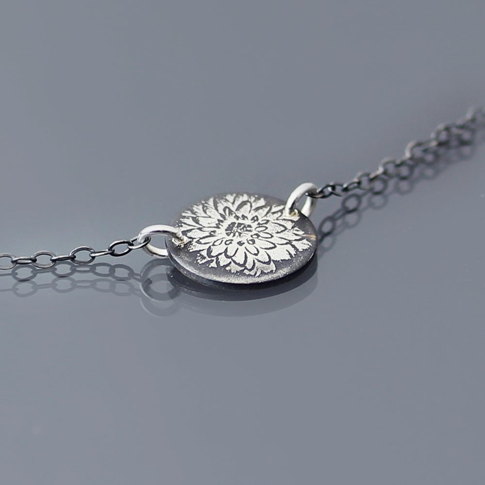 Image of Tiny Sterling Silver Dahlia Necklace