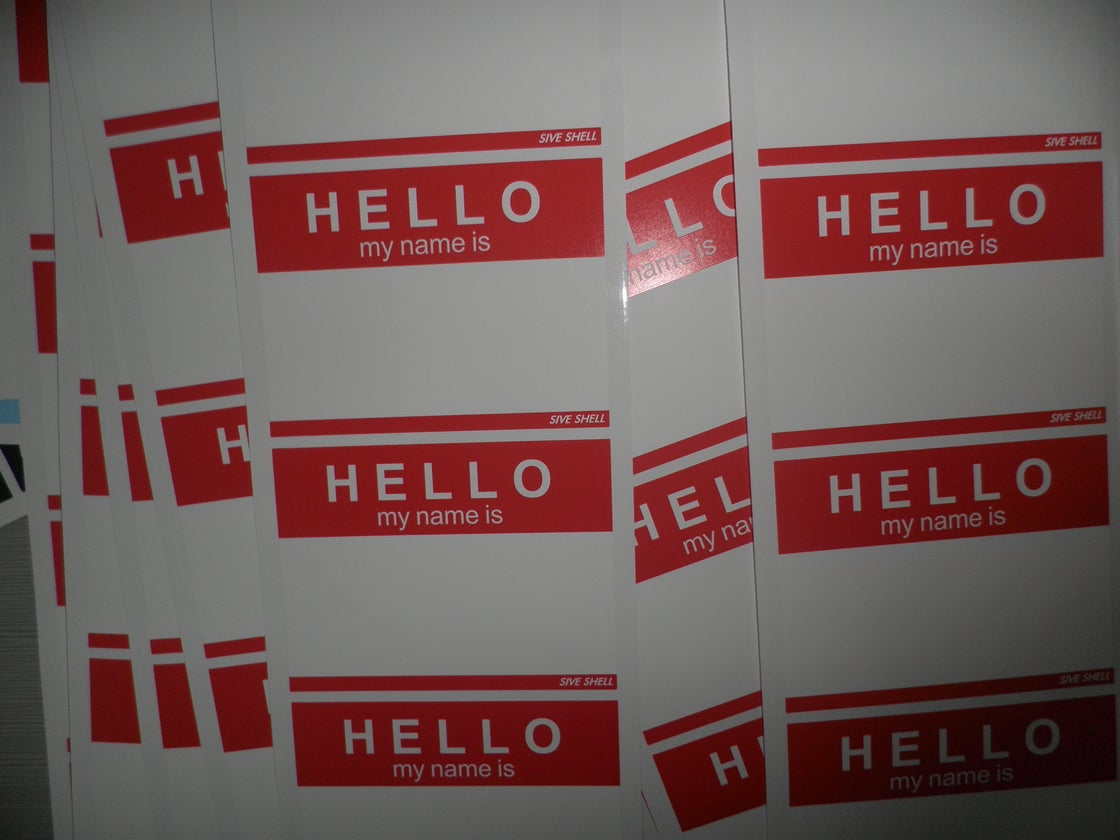 """Image of Custom """"Hello,My Name Is"""" Blank Eggshell Sticker With or without your logo"""