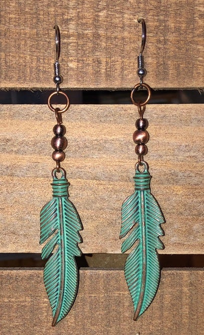 Image of Rustic feather earrings