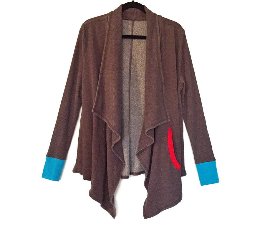 Image of Free Flow Raisin Washed Asymmetrical Cardi