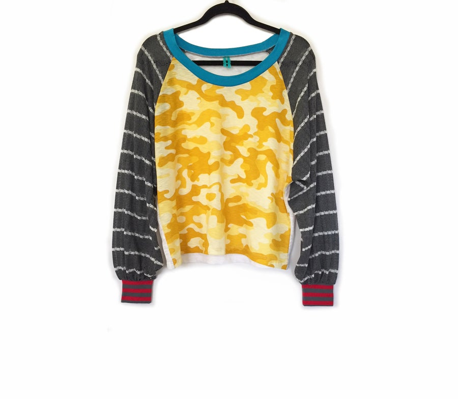 Image of Burn Out Yellow Camo Raglan Sports Tunic