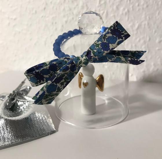 Image of Bracelet perles bleues & noeud Liberty