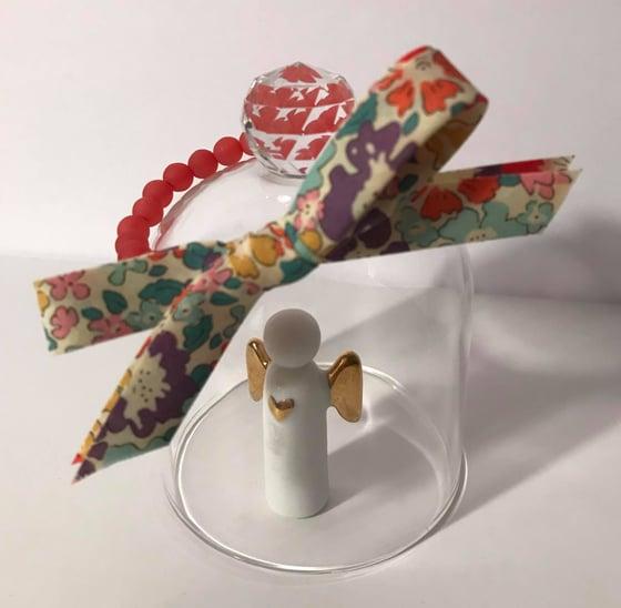 Image of Bracelet perles rouge/rose & noeud Liberty