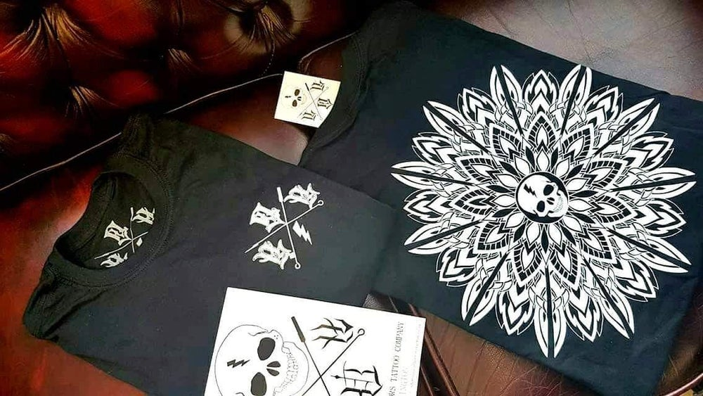 Image of House of Horrors Tattoo Company Skull | Mandala T-Shirt
