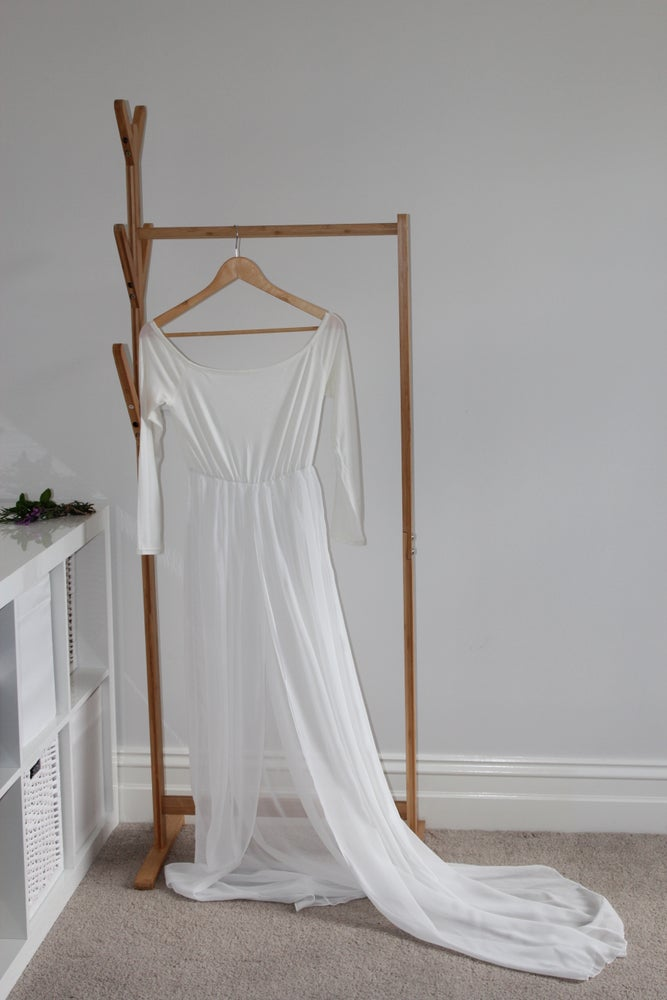 Image of Boho Sheer Maternity/ delivery gown.