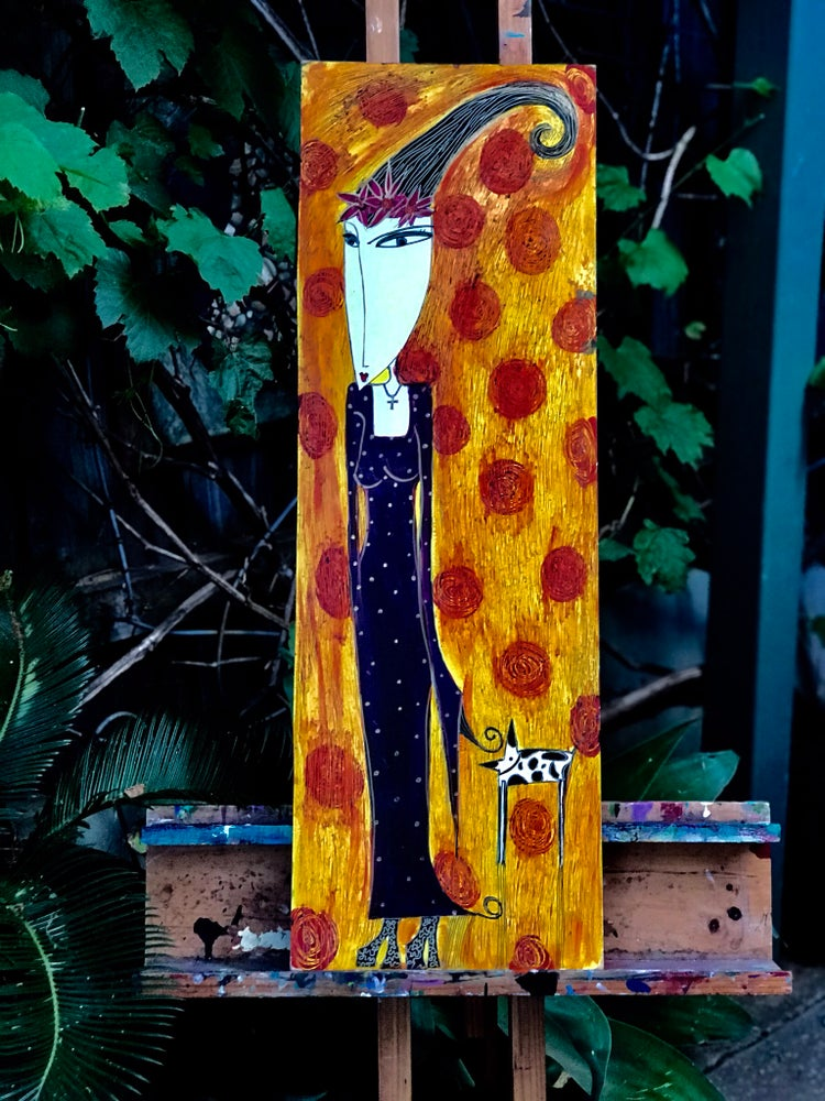 "Image of ""Walking the dog"" 81cmx27cm Original Painting SOLD"