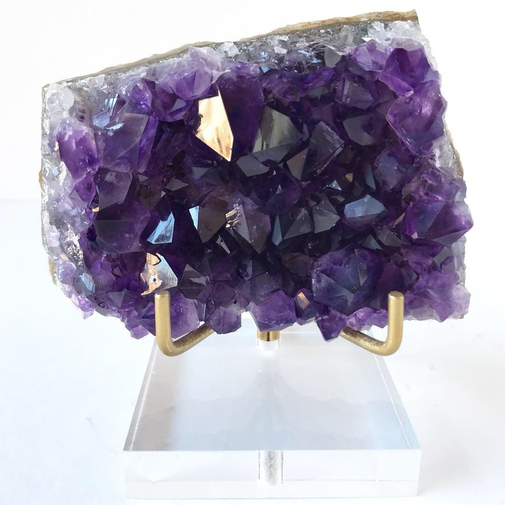 Image of Uruguayan Amethyst no.56 + Lucite and Brass Stand Pairing