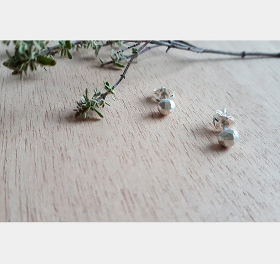 Image of Mini faceted Recycled Silver studs givingtuesday