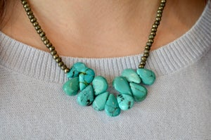 Turquoise Teardrops on Pyrite