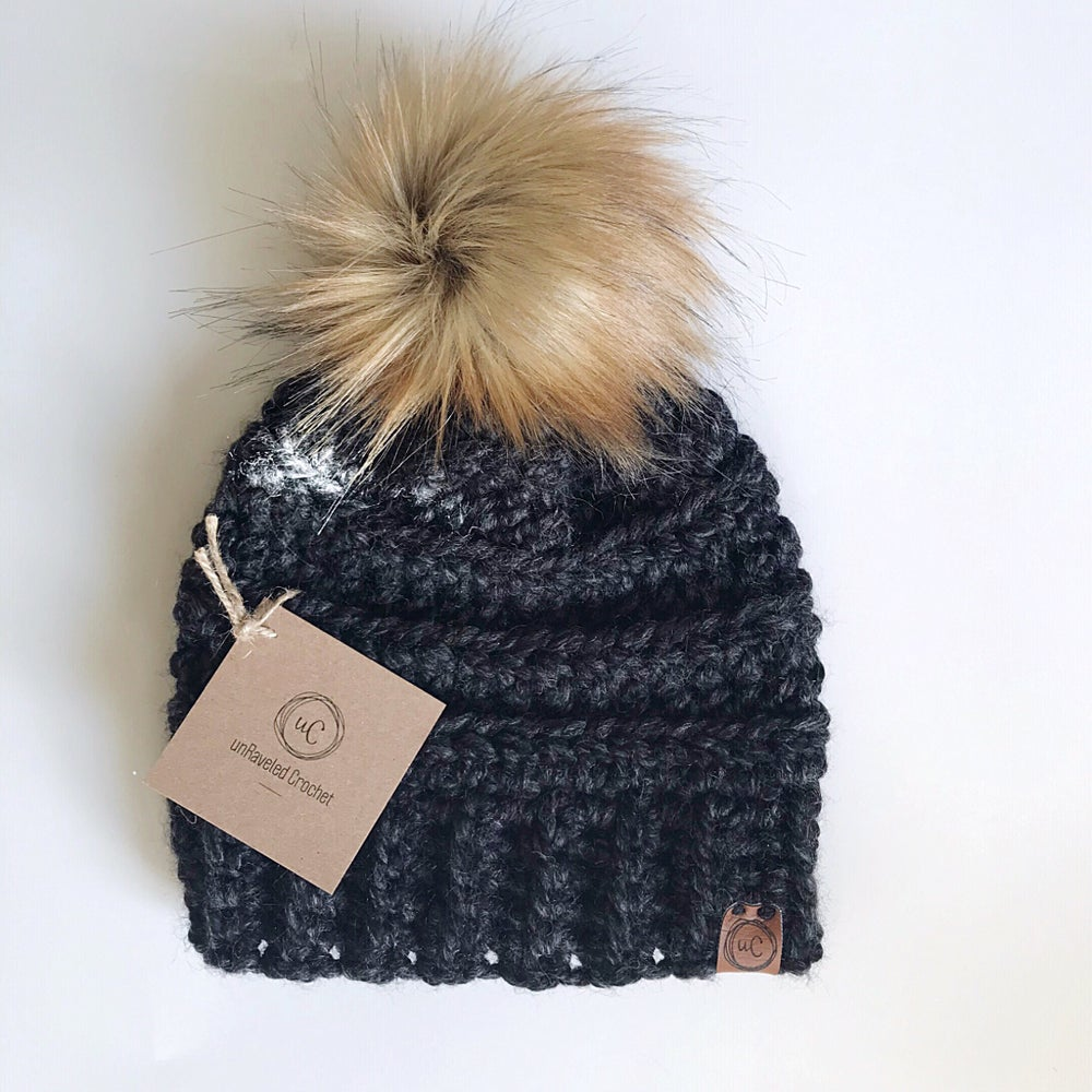 Image of Toddler/child Ready-to-Ship Faux Fur Pom Hats