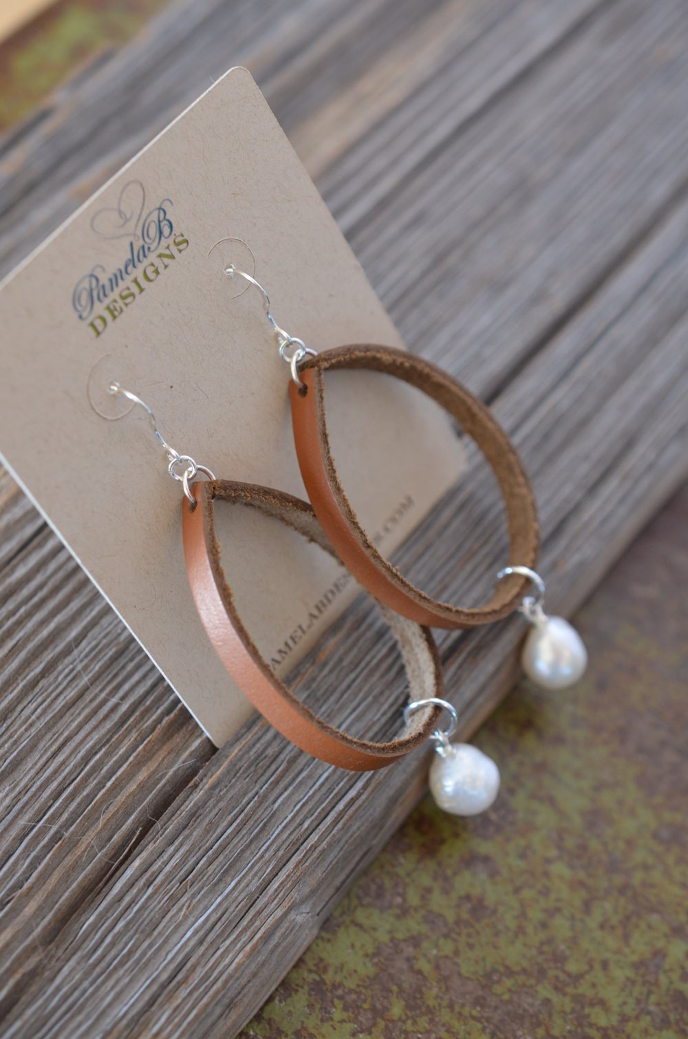 Image of Leather Hoop Earrings