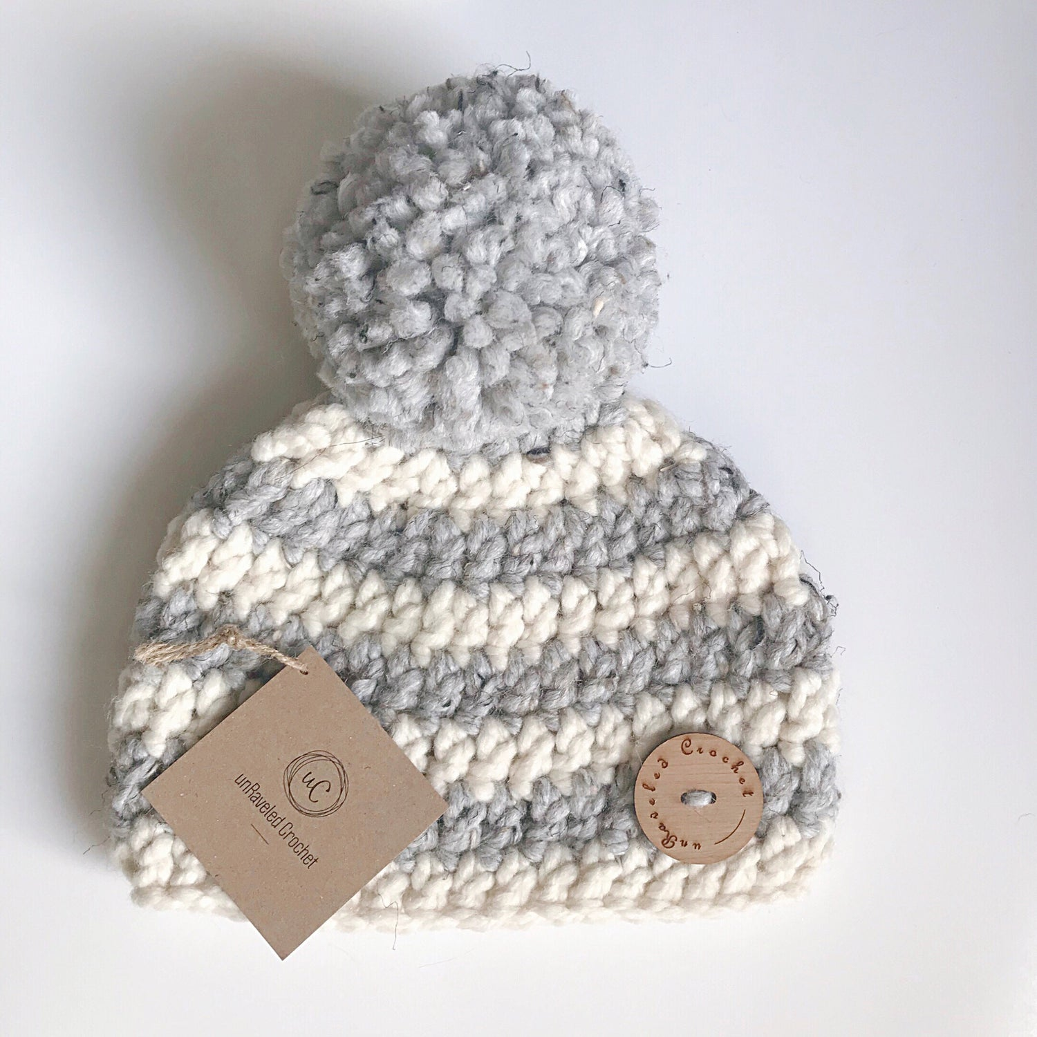 Image of Ready to Ship- Striped Giant Pom Hats (Baby:Toddler:Child) Ready to Ship