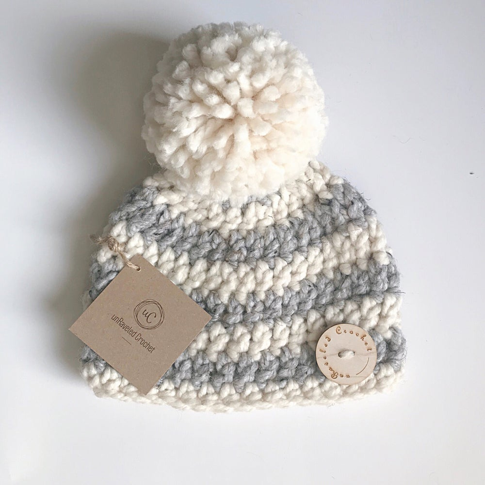 Image of Striped Giant Pom Hats (Baby:Toddler:Child) Ready to Ship